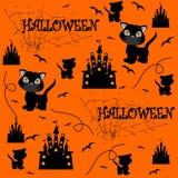 Senza giunte arancione di Halloween Illustrazione di vettore Fotografia Stock