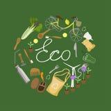 Senza spreco zero dell'iscrizione, bianco su un'immagine verde di vettore di logo del fondo illustrazione vettoriale