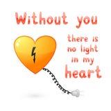 Senza voi non ci è indicatore luminoso nel mio cuore Fotografia Stock Libera da Diritti