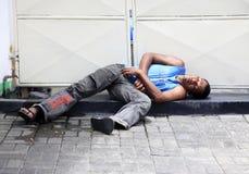 Senzatetto addormentato in Mauritius Fotografia Stock