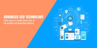 Seo优化,数字式营销自动化,企业技术,机器人手,查寻概念 平的设计传染媒介横幅 皇族释放例证