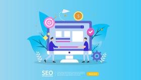 SEO搜索引擎优化结果概念 网站等级,广告,战略想法人字符 网登陆的模板 向量例证