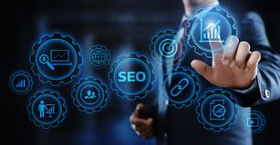 SEO搜索引擎优化营销等级交通网站互联网企业技术概念 图库摄影