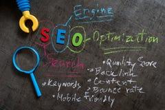 SEO搜索引擎作为五颜六色的字母表SEO的优化概念, 库存照片