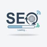 SEO标志商标,搜索引擎优化标志,平的设计,传染媒介例证 免版税库存图片