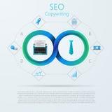 SEO的Infographic或copywriting与Mobius条纹 库存图片