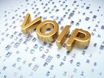 SEO网发展概念:在数字式背景的金黄VOIP 免版税图库摄影
