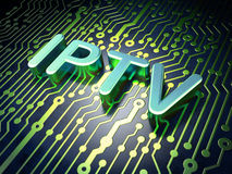 SEO网发展概念:在电路板背景的IPTV 免版税图库摄影