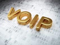 SEO网络设计概念:在数字式背景的金黄VOIP 库存照片