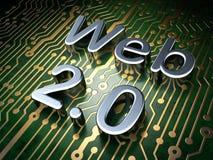 SEO网络设计概念:在电路板背景上的网2.0 免版税图库摄影