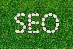 Seo,搜索引擎优化 网站交通促进 附上互联网塑造技术 词在草坪计划了 免版税库存图片