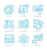 SEO και ψηφιακά εικονίδια μάρκετινγκ ελεύθερη απεικόνιση δικαιώματος