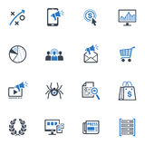 SEO & значки маркетинга интернета установили 3 - голубая серия Стоковое Изображение