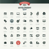 Seo и комплект значка развития Стоковые Фото