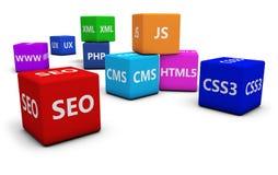 Seo и конструктивная схема веб-дизайна Стоковые Изображения