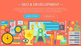 SEO и шаблон infographics дизайна концепции развития конструируют, элементы значков seo заголовка сети также вектор иллюстрации п Стоковое Фото