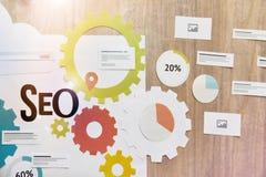 SEO обслуживает концепцию для знамени сети Стоковые Изображения
