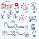 Seo основных видов деятельности схемы Doodle с значками Стоковое Изображение