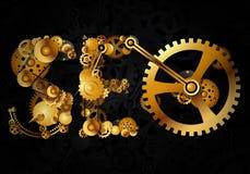 SEO, предпосылка шестерни щелчка интернета оптимизирования поисковой системы золотая наградная - вектор Стоковое Изображение
