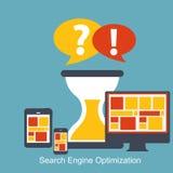 SEO -搜索引擎优化平的象传染媒介 免版税库存照片