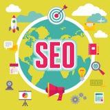 SEO (搜索引擎优化)在平的设计样式 免版税图库摄影