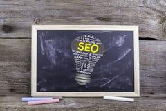 SEO (搜索引擎优化)电灯泡词云彩 粉笔板 免版税库存图片