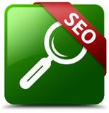 Seo绿色正方形按钮 免版税图库摄影