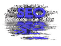 SEO. Search engine optimization. Conceptual image with keyword cloud around SEO letters Stock Images