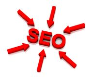 SEO. Arrows pointing towards SEO (Search Engine Optimization stock images