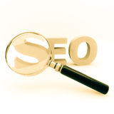 Seo. 3d illustration of a magnify glass on a seo word Royalty Free Stock Images