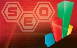 Seo 3d grafiek van Internet Stock Afbeeldingen