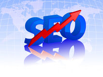 Seo 3d text with growing arrow. Search engine optimization with red growing arrow on earth map background. vector illustration Royalty Free Stock Photography