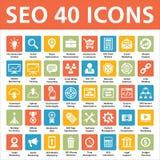SEO 40 Wektorowe ikony Fotografia Royalty Free