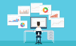商人逻辑分析方法企业图表和seo在网 免版税库存照片