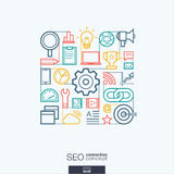 SEO abstract background, integrated thin line symbols. Illustration in editable EPS and JPG format Stock Photography