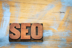 SEO acronym in letterpress wood type Stock Image
