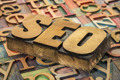 SEO acronym in wood type Royalty Free Stock Images