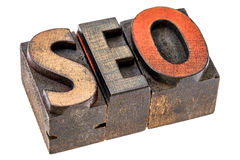 SEO acronym in wood type Royalty Free Stock Photo