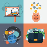 Seo analysis piggy bank space with rocket Stock Photography