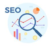SEO analysis vector flat illustration. Concept of accounting, analysis, audit, financial report. Auditing tax process.  Royalty Free Stock Photography