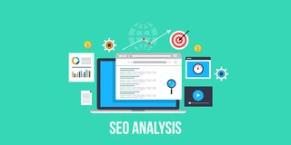 Seo analysis - website seo - website analysis. Flat design seo banner. Seo analysis for website audit. Website performance report, Search for website data and Royalty Free Stock Photography