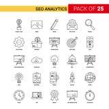 SEO Analytics Black Line Icon - grupo do ícone do esboço de 25 negócios ilustração stock