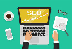 SEO analytics concept on business workdesk vector illustration top view, businessman working on search engine Royalty Free Stock Image
