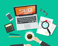 SEO analytics concept on workdesk vector, search engine optimization research Stock Images