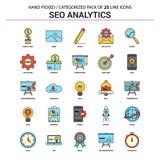 SEO Analytics Flat Line Icon ajustou-se - os ícones do conceito do negócio projetam ilustração do vetor