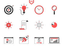Seo analytics  icon set. Seo analytics and data management searching engine optimization, webpage traffic development. Flat line modern design icon vector set Royalty Free Stock Photography