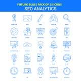 SEO Analytics Icons - bloco do ícone do azul 25 de Futuro ilustração stock