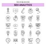 SEO Analytics Line Icon Set - estilo tracejado do esboço 25 ilustração royalty free