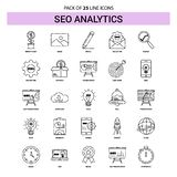 SEO Analytics Line Icon Set - style à tiret d'ensemble 25 illustration libre de droits