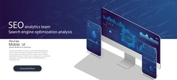 SEO analytics team landing page. Analytic web pages with charts.Search engine optimization analysis concept. On ultraviolet background vector illustration